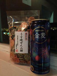 お土産の花火ビール